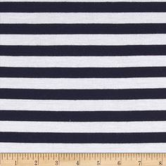 Designer Stripe Jersey Knit Navy/White from @fabricdotcom  This jersey knit fabric has a soft  hand, fluid drape and about 25% stretch across the grain. This versatile fabric is perfect for creating stylish tops, tanks, lounge wear, gathered skirts and fuller dresses with a lining. It features horizontal yarn dyed stripes of navy and white.
