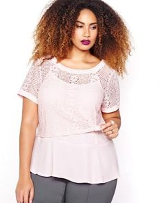 Shop online for Michel Studio Short Sleeved Lace Top. Find Sale-Tops, and more at AdditionElle Trendy Plus Size Fashion, Stylish Plus, Plus Size Outfits, Trendy Outfits, Elle Fashion, Addition Elle, Wide Width Shoes, Active Wear, Studio