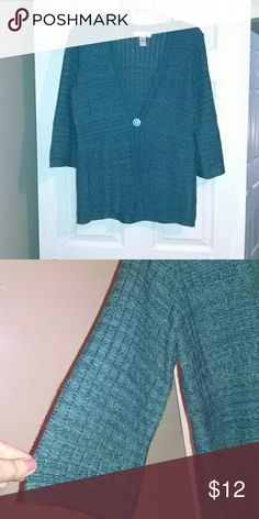 Teal cardigan One button cardigan 3/4 length flared sleeve Christopher & Banks Sweaters Cardigans