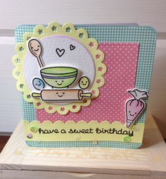 "Super sweet card using Lawn Fawn's 'Baked with Love"" coordinating stamp and die sets."