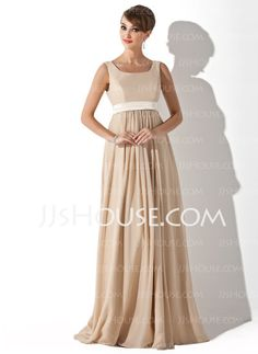 Maternity Bridesmaid Dresses - $111.49 - A-Line/Princess Scoop Neck Floor-Length Chiffon  Charmeuse Maternity Bridesmaid Dresses With Sash (045004409) http://jjshouse.com/A-line-Princess-Scoop-Neck-Floor-length-Chiffon--Charmeuse-Maternity-Bridesmaid-Dresses-With-Sash-045004409-g4409