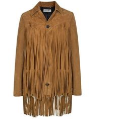 Saint Laurent Fringed Suede Jacket ($3,365) ❤ liked on Polyvore featuring outerwear, jackets, cognac, yves saint laurent, suede leather jacket, yves saint laurent jacket, long sleeve jacket and brown jacket