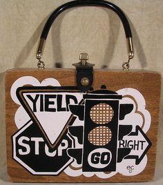 Vintage Enid Collins Wood Box Bag  Purse Traffic Signs