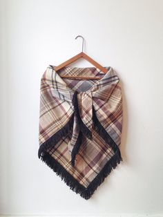 Vintage Tartan Plaid Wool Shawl or Scarf with Fringe by ethanollie, $48.00