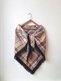 Vintage Tartan Plaid Wool Shawl with fringe