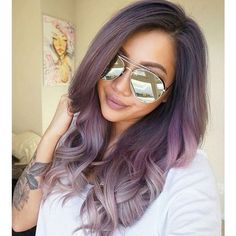 Dusty purple into dusty silver hair color. Purple and silver ombre. ❤ liked on Polyvore featuring accessories, hair accessories and b e a u t y