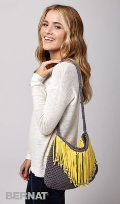 Fringe Benefits Bag - Patterns | | Yarnspirations | Home Decor| Pillows | Crochet | New Pattern | Free Pattern