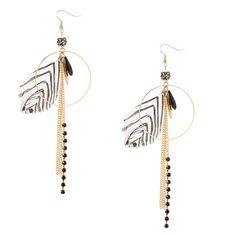 Gold Hoop and Zebra Feathers Drop Earrings