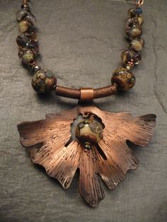 """""""Fan Fair"""" Necklace Fretwork in Copper, Textured , Artisan Lampwork Beads and Copper chain"""