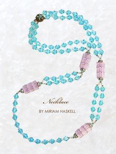 ブルーとラベンダー色のヴィンテージネックレス MIRIAM HASKELL(ミリアムハスケル)