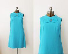 Vintage 1960's Tiffany Blue Bow Dress