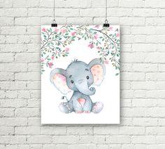 Safari Nursery Print Baby Elephant Flower Art Girls