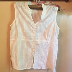 White sleeveless Christopher and Banks top This is a nice white top. Button front. Tie in the back. Sleeveless. Christopher & Banks Tops
