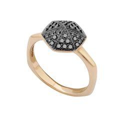 Stephen Webster Deco 18K Rose Gold & Black Diamond Ring