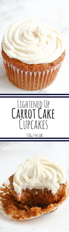 These Lightened Up Carrot Cake Cupcakes are the perfect healthy alternative for your favorite Easter treat! Perfect for people who are vegan, vegetarian, dairy-free and paleo. Repin to see now or save for later!