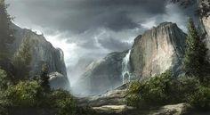 Mountains Landscape Matte Painting