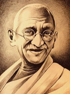 Mahatma Gandhi - Sketching by Marie Bouldingue in My Scrapbook at touchtalent