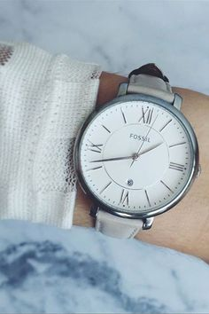 Fossil Jacqueline Watch with white or gray leather strap, silver, roman numeral face