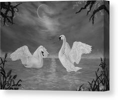 Swans Wood Print featuring the drawing Nocturnal Dance by Faye Anastasopoulou Wall Art Prints, Canvas Prints, Fine Art Posters, Ocean Scenes, Thing 1, Dance Art, Swans, Print Pictures, Wood Print