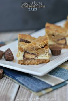Peanut Butter Cheesecake Bars - Shugary Sweets
