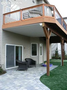 Water drainage system that keeps the patio underneath your deck nice & dry.
