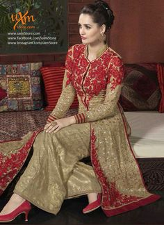 Beige georgette festive palazzo suit Beige georgette top adorned with intricate red thread embroidery with Sequins Beige color jacquard palazzo pants and chiffon dupatta Can be stitched up to size 42 Pakistani Suits Online, Pakistani Outfits, Indian Outfits, Punjabi Suits, Indian Anarkali Dresses, Anarkali Suits, Designer Suits Online, Designer Salwar Suits, Party Wear Dresses