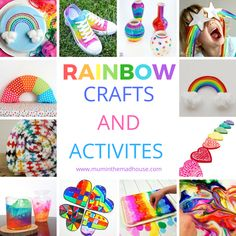 Rainbow Crafts and Activities for Kids - A stunning and colourful selection of rainbow crafts, art and activities for children of all ages. Rainbow Activities, Rainbow Crafts, Rainbow Art, Creative Arts And Crafts, Fun Crafts For Kids, Craft Activities For Kids, Paper Plate Crafts, Craft Stick Crafts, Diy Crafts