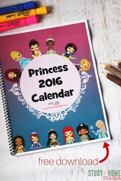 A free calendar printable for your little Princess. Disney Princess calendar to teach your child the months of the year and days of the week. A great alternative to boring agendas, and a way to interest kids in learning to use a calendar
