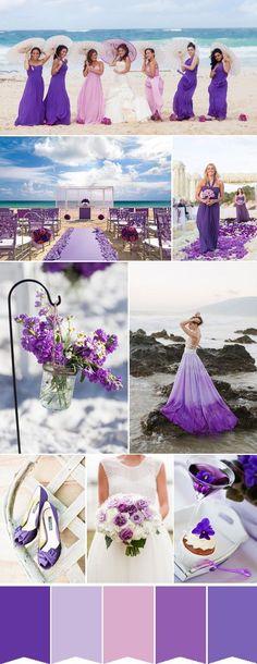 mismatched purple beach wedding ideas