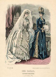 1880s Fashion, Victorian Fashion, Vintage Fashion, Victorian Era, Retro Fashion, Fashion Images, Fashion Pictures, Belle Epoque, Wedding Dress Patterns