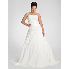 Lanting+A-line+Plus+Sizes+Wedding+Dress+-+White+Chapel+Train+Strapless+Taffeta+–+USD+$+189.99