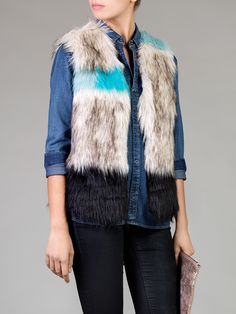 Unreal Fur | Patchwork Brown and Turquoise Faux Fur Vest | GIRISSIMA.COM