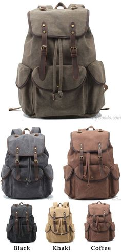 Retro Leather Strap Rucksack Thick Canvas Large Travel College for big sale ! Which color do you like? Brown? #backpack #college #rucksack #retro #bag #rucksack #travel