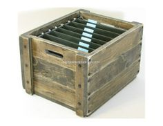Wooden File Crate Wood Filing Box Office File Storage & Organization Wood Burned Personalization Available