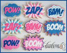 Super Hero Fight Bubble Cookies quantity: 12 Pow by SeahorseSweets Coconut Cookies, Iced Cookies, Royal Icing Cookies, Fun Cookies, Sugar Cookies, Cookie Icing, Decorated Cookies, Superhero Cookies, Girl Superhero Party