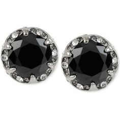 Betsey Johnson Silver-Tone Black Faceted Stone Disc Stud Earrings
