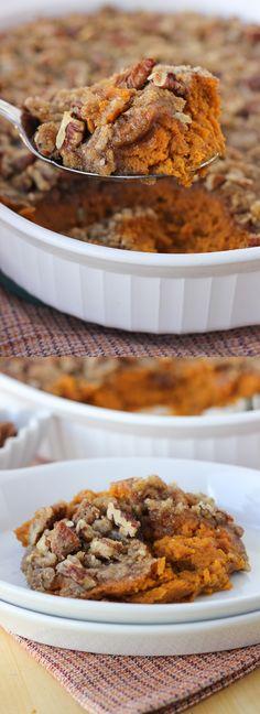 Sweet Potato Casserole with Pecan Praline Topping! {Gluten & Dairy-Free}