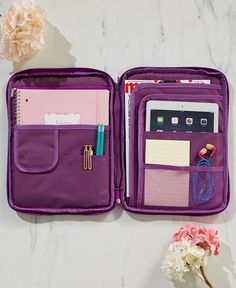 Find your everyday essentials with ease when you store them in this Multipurpose Organizer with Handle. Its full-zip closure opens to reveal several pockets on either side that readily organize anything from your electronic devices to writing utensils Middle School Supplies, Back To College Supplies, School Suplies, Ltd Commodities, Too Cool For School, School Organization, Backpack Organization, School Hacks, Organizer