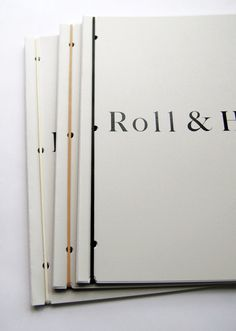 Roll & Hill Catalogs by Studio Lin (punched notches in each spec sheet allow customization per customer. Use individually or bind with rubber band)