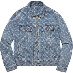 Supreme Louis Vuitton/Supreme Jacquard Denim Trucker Jacket ❤ liked on Polyvore featuring outerwear, jackets, denim jacket, louis vuitton jacket, blue denim jacket, jean jacket and blue jackets