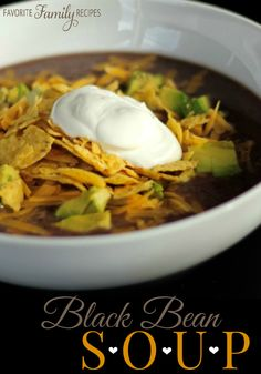This black bean soup is a favorite of ours. We make it all the time, our kids even gobble this stuff up, it is so tasty!