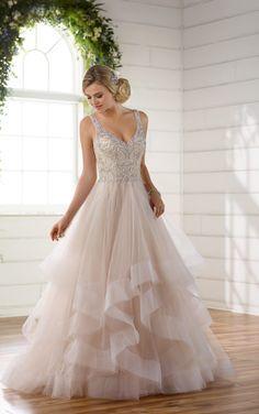 D2259 Beaded Strap Wedding Dress with Full Textured Skirt by Essense of Australia