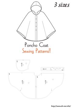 This is the pattern of a Poncho Coat. inch size(letter size) Children's-F/Ladies'-F/Men's-F cm size) Poncho Pattern Sewing, Easy Sewing Patterns, Coat Patterns, Apron Patterns, Dress Patterns, Sewing Doll Clothes, Doll Clothes Patterns, Clothing Patterns, Free Sewing