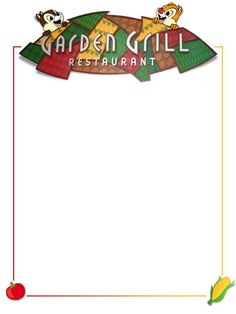 "Garden Grill - Project Life Disney Journal Card - Scrapbooking ~~~~~~~~~ Size: 3x4"" @ 300 dpi. This card is **Personal use only - NOT for sale/resale** Logos/clipart belong to Disney. Tomato & corn from www.clker.com"