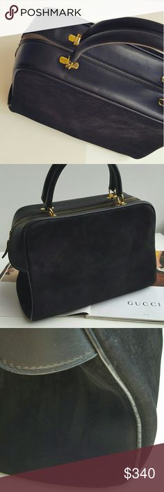 Gucci 1960's black suede leather purse bag. Beautiful old school Gucci bag. In great vintage condition considering it's 50 years old!  It has that quality craftmanship you expect from that era of luxury bag making. I imagine how much of a big deal it was to have something like this in 1960's. Gucci Bags