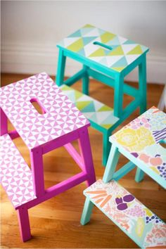 Katie Loves …how these plain wooden Ikea stools are given new life with wallpaper and a coordinating paint job. Most handy as extra seating in the playroom, a step up in the bathroom or that extra oomph to reach the books on the top shelf. Photo: The Little Street