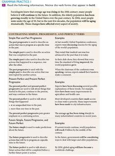 Grammar Practice 1 (p. 121-123) – Mode: solve – Unit 5 The Golden Years > Focus on Speaking > Grammar Practice – MSI L7 ISB NS4 LS 04 29 2020 – MyEnglishLab Verb Forms, Grammar Practice, The Golden Years, The Past, English, Activities, Reading, Reading Books, English Language