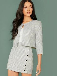To find out about the Plaid Open Front Tweed Jacket & Buttoned Bodycon Skirt Set at SHEIN, part of our latestTwo-piece Outfits ready to shop online New Arrivals Dropped Daily. Suit Fashion, Look Fashion, Korean Fashion, Fashion Outfits, Fashion Capsule, Fall Fashion, Classy Outfits, Pretty Outfits, Casual Outfits