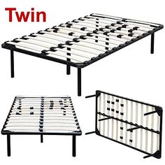 Yaheetech Twin Size Platform Metal Bed Frame Mattress Foundation Base with Wood Slats No Headboards ** For more information, visit image link.