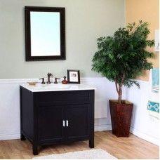 Bath> Vanities: 36 in Single sink vanity-wood-ebony